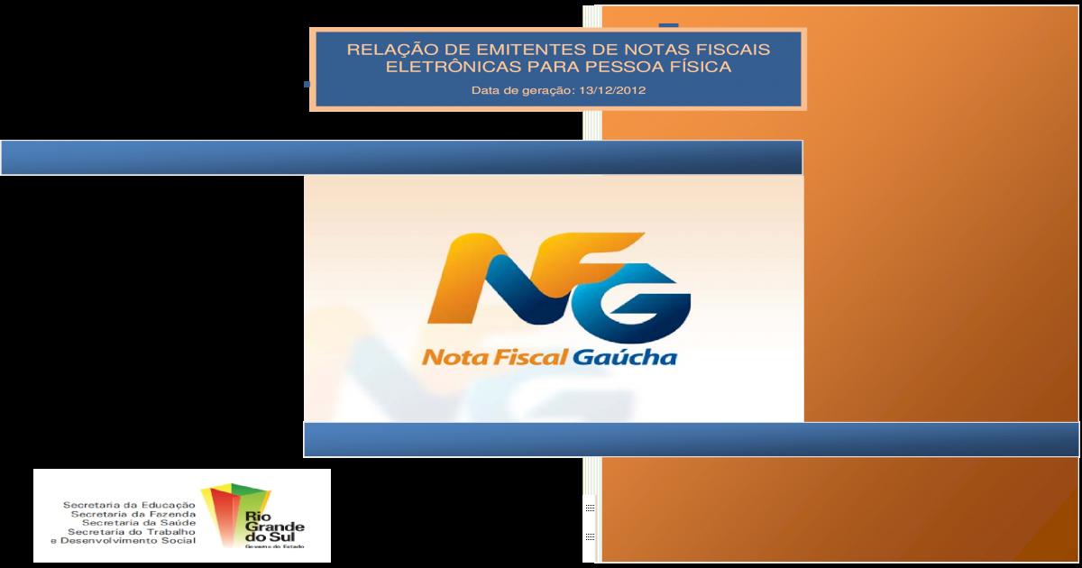 2fd96470e7 RELAO DE EMITENTES DE NOTAS FISCAIS   Relao de emitentes de Notas Fiscais  Eletrnicas para