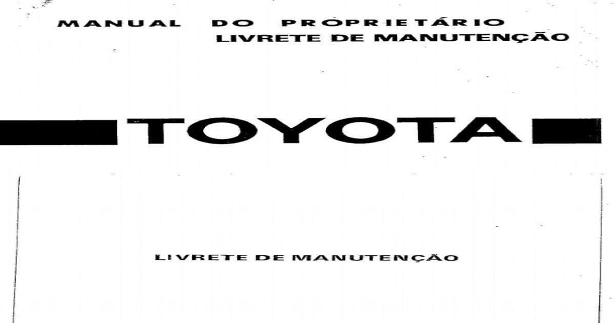 Manual Do Proprietario Livrete Manutenção-ToYOTA