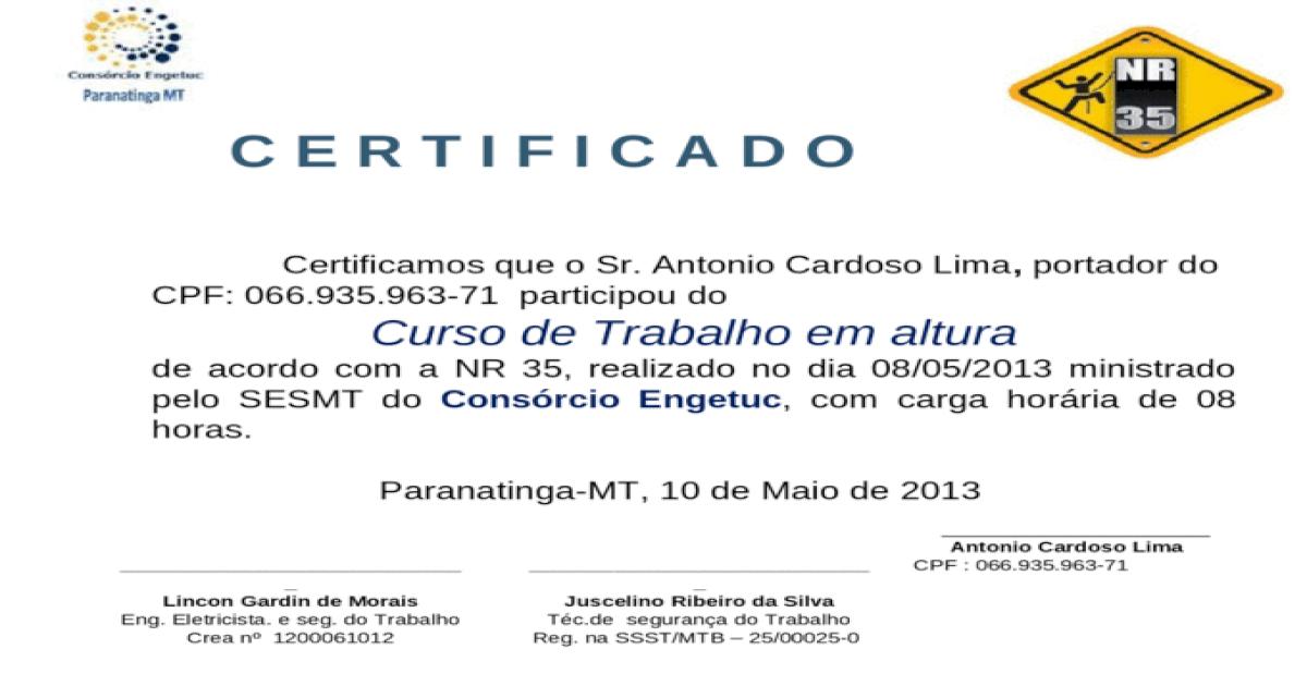 Certificado Nr 35 Modelo